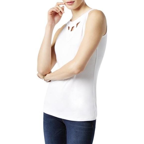 15ac713383ba INC International Concepts Tops | White Cut Out Neckline Sleeveless ...